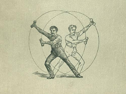 """Mann mit Hanteln in der Hand bei einer Gymnastikübung, Ausschnitt aus dem Buchtitel """"Haus-Gymnastik für Gesunde und Kranke"""" von 1888"""