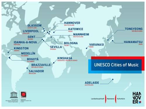 Im Bereich Musik gibt es zurzeit 18 Cities of Music