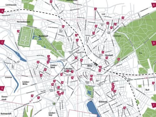 Stadtplanausschnitt der ZINNOBER-Kunstorte