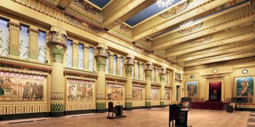 In ägyptischem Stil dekorierter Innenraum des Freimaurer-Tempel, Rue du Persil, Brüssel, eingeweiht 1879