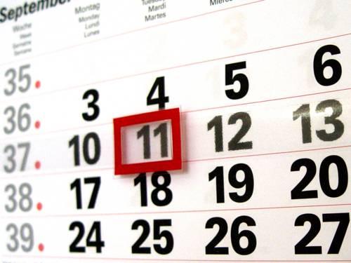 Aufnahme eines Kalenderblatts