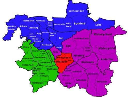 Unterrichtsorte in den einzelnen Stadtbezirken