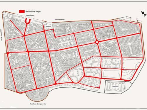 Plan eines Friedhofs, auf dem die von Gewerbetreibenden zu nutzenden Wege eingezeichnet sind