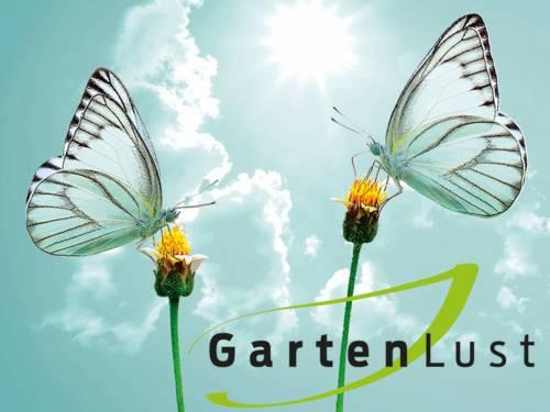 Logo, das zwei Schmetterlinge auf Blumen zeigt.