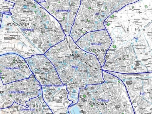 Ausschnitt aus der Stadtkarte, auf dem Spielflächen grün markiert sind