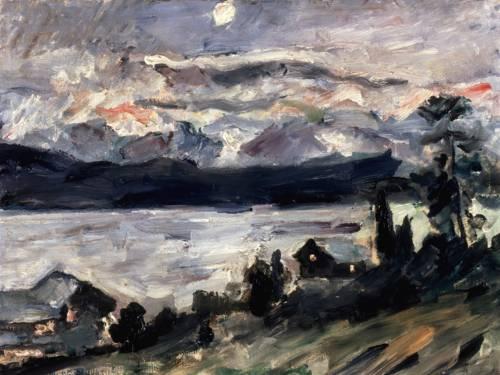 """Gemälde Lovis Corinth, """"Walchensee Johannisnacht"""" 1920, Öl auf Holz 48 × 58 cm"""
