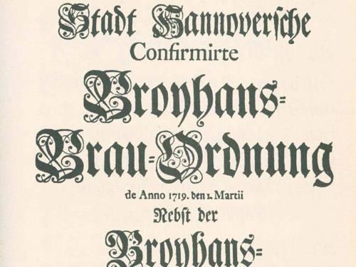 Foto des Deckblatts der Broyhans Brau-Ordnung von 1719