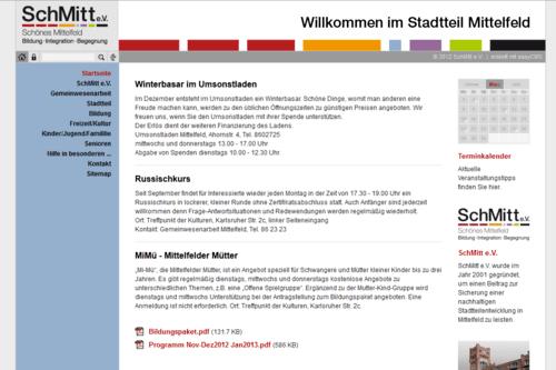 Screenshot Internetseite Mittelfeld