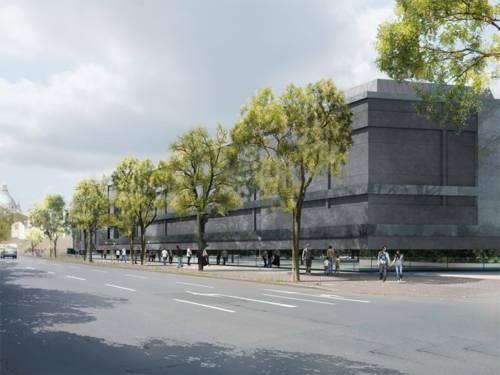Die Außenansicht des Erweiterungsbaus des Sprengel Museums von Süden aus gesehen