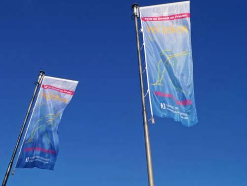"""TERRE DES FEMMES-Flaggen, die mit einer Frauenfigur und dem Slogan """"frei leben – ohne Gewalt"""" bedruckt sind"""