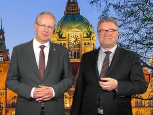 Oberbürgermeister Stefan Schostok und Regionspräsident Hauke Jagau in einem gemeinsamen Video