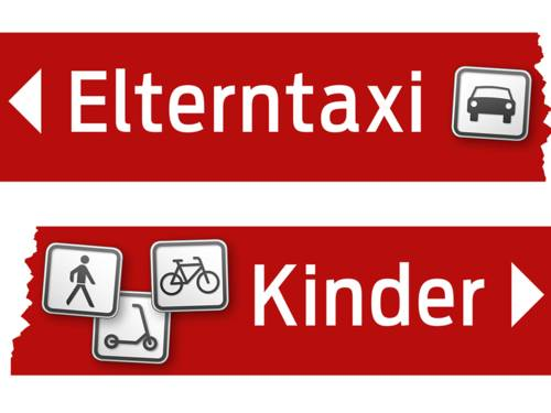 Piktogramm, das oben ein Auto auf rotem Grund zeigt, darunter die Bilder anderer Verkehrsteilnehmer: Roller, Fußgänger, Fahrrad