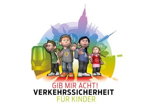 """Bunte Grafik mit vier Kindern vor mehreren Verkehrselementen und dem Slogan """"Gib mir Acht!"""""""