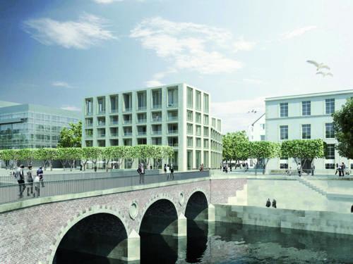 Bebauung des Marstalls – Baufeld West: Mehrschossige Gebäude am Fluß Leine, über den eine steinerne Fußgängerbrücke führt.