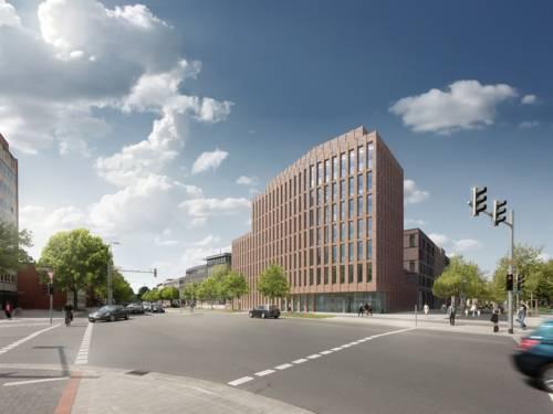 Animation Bebauung des Klagesmarktes, Blick auf das geplante Bürogebäude an der Otto-Brenner-Straße