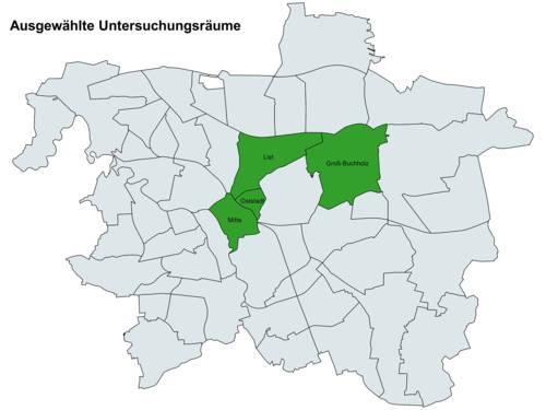 Auf einer Stadtkarte sind die vier Stadtteile List, Mitte, Osttadt und Groß-Buchholz zur Verdeutlichung ihrer Lage im Stadtgebiet grün eingefärbt.