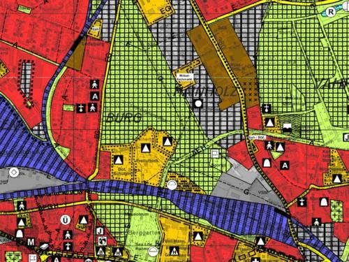 Der Ausschnitt aus dem Flächennutzungsplan zeigt mit unterschiedlichen Farbmarkierungen die unterschiedliche Nutzung von Flächen im Stadtgebiet Hannovers.