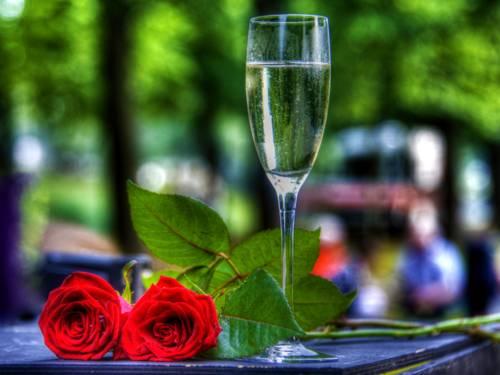 Ein Glas Sekt und zwei rote Rosen.