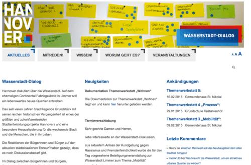 Screenshot der Website wasserstadt-dialog.info