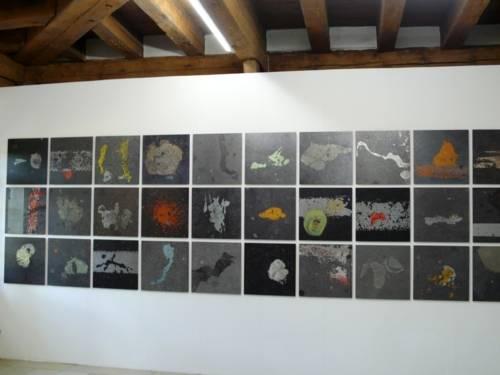 Kunstprojekt von Mayors for Peace: Auf einer Wand sind drei Reihen quadratische Abbildungen eng nebeneinander montiert.