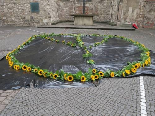 """Friedenssymbol für nukleare Abrüstung: Sonnenblumen als """"Peace""""-Zeichen."""
