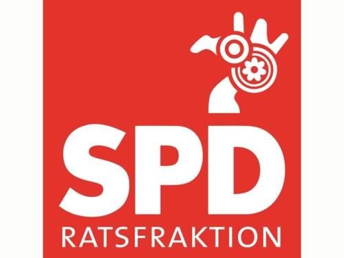Logo der SPD-Ratsfraktion: eine stilisierte NaNa-Figur mit Blumenemblem auf einem roten Quader mit dem Schriftzug SPD