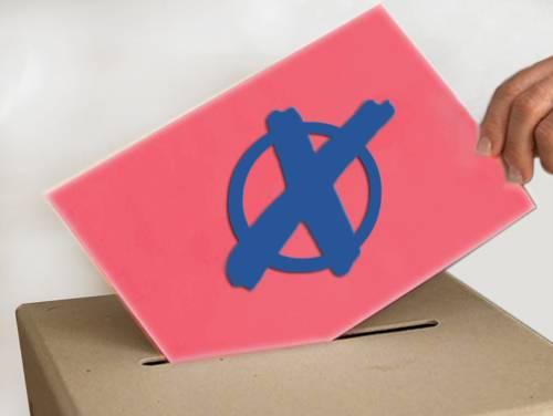 Bild zur Wahl - Hand wirft Wahlzettel in Wahlurne