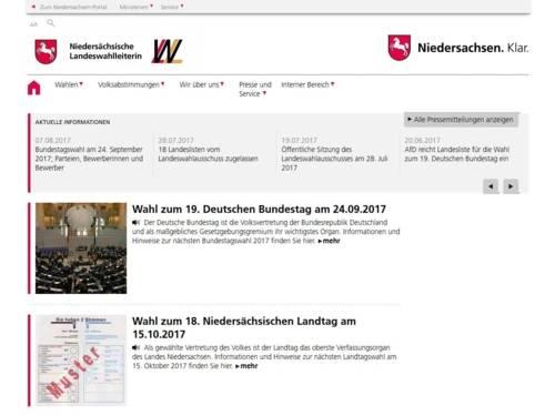 Screenshot von der Homepage der Niedersächsischen Landeswahlleiterin