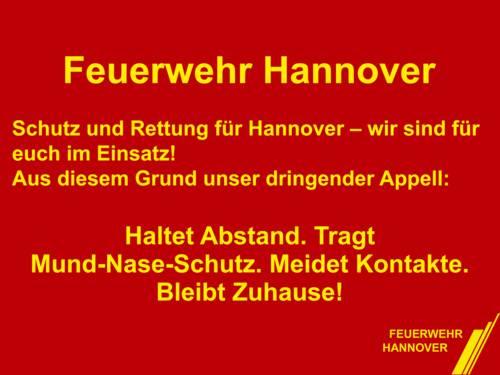 Die Feuerwehr Hannover informiert bleiben Sie Zuhause