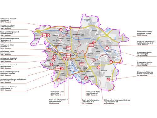 Standortkarte Feuer- und Rettungswachen und Feuerwehrhäuser