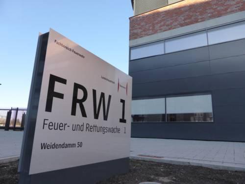 Eingangsbereich zum ersten Bauabschnitt der neuen Feuer- und Rettungswache 1.