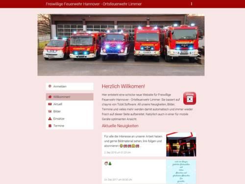 Screenshot der Homepage der Ortsfeuerwehr Limmer