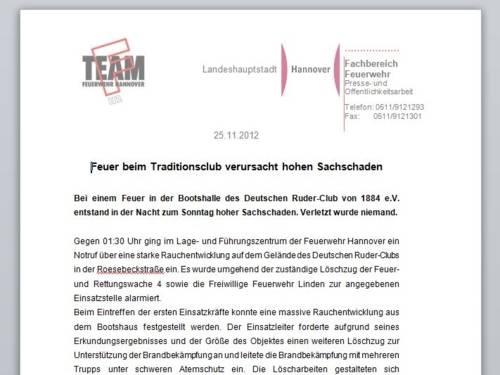 Pressemitteilung der Feuerwehr Hannover