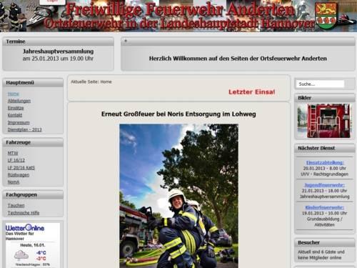 Screenshot der Homepage der Ortsfeuerwehr Anderten