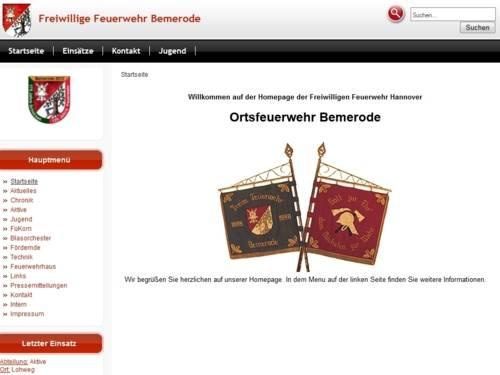 Screenshot der Homepage der Ortsfeuerwehr Bemerode