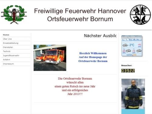 Screenshot der Homepage der Ortsfeuerwehr Bornum