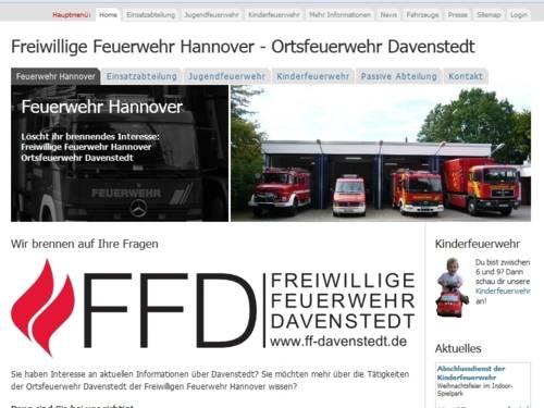 Screenshot der Homepage der Ortsfeuerwehr Davenstedt