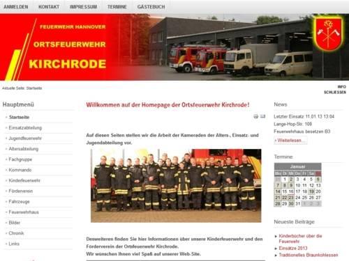 Screenshot der Homepage der Ortsfeuerwehr Kirchrode