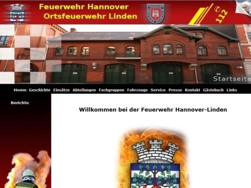 Screenshot der Homepage der Ortsfeuerwehr Linden