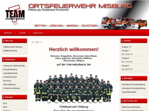 Screenshot der Homepage der Ortsfeuerwehr Misburg