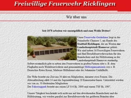 Screenshot der Homepage der Ortsfeuerwehr Ricklingen