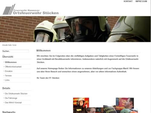 Screenshot der Homepage der Ortsfeuerwehr Stöcken
