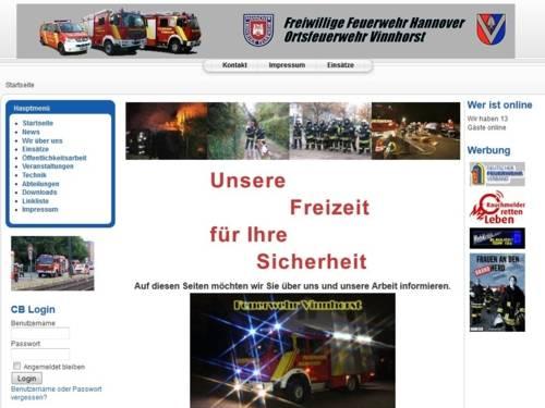 Screenshot der Homepage der Ortsfeuerwehr Vinnhorst