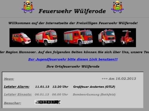 Screenshot der Homepage der Ortsfeuerwehr Wülfelrode