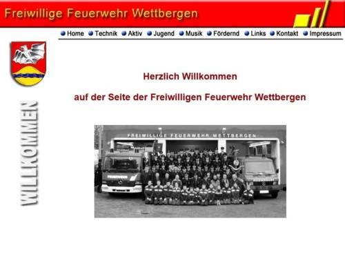 Screenshot der Homepage der Ortsfeuerwehr Wettbergen