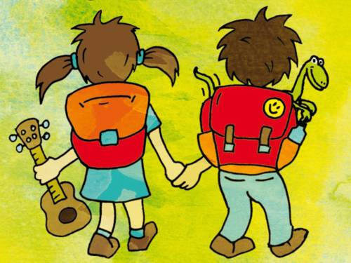 """Ausschnitt aus dem Cover der Kinderlieder-CD """"Der Rucksack ist gepackt"""", der eine Zeichnung von zwei Kindern mit Rucksack zeigt, die sich an den Händen halten."""