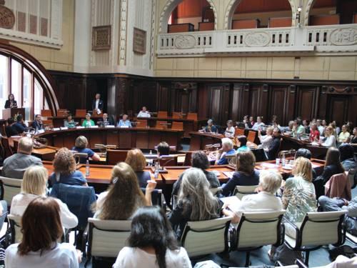 Eine Frau steht an einem Pult im Hodlersaal des Neuen Rathauses und spricht in ein aufgestelltes Mikrofon. An den Sitzpulten und dahinter aufgestellten Stühlen sitzen etwa 50 weitere Personen.