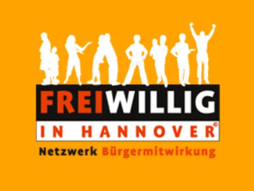 Logo des Netzwerks Freiwillig in Hannover mit den Silhouetten verschiedener Leute