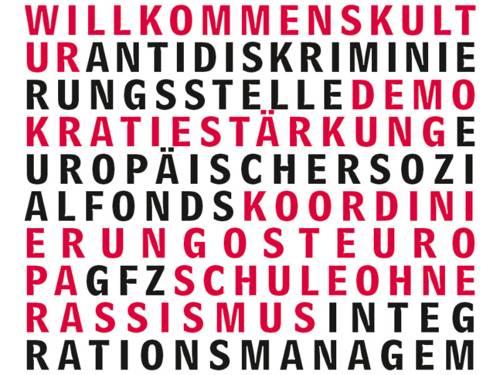 Ein abstraktes Logo der Stabsstelle Integration aus roten, schwarzen und weißen Buchstaben.