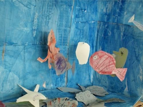 Ein aus ausgeschnittenem Papier selbst bemaltes Aquarium zum Spielen